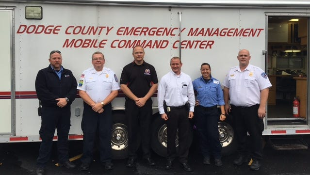 Those serving through a mobile incident command were, from left: Shannon Abler, Lifestar district manager; Al Mannel, Beaver Dam fire chief; Joe Meagher, Dodge County Emergency Management deputy director; Scott Louden, Waupun assistant police chief; Annie Morgan, Lifestar paramedic; and BJ DeMaa, Waupun fire chief.