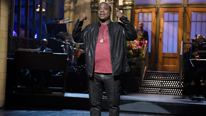 """In this Saturday, Oct. 17, 2015, photo, provided by NBC, actor and comedian Tracy Morgan speaks during a monologue on the show, in New York. Morgan returned to a familiar stage, hosting """"Saturday Night Live"""" in his first appearance on the show since a vehicle crash that left him in a coma."""