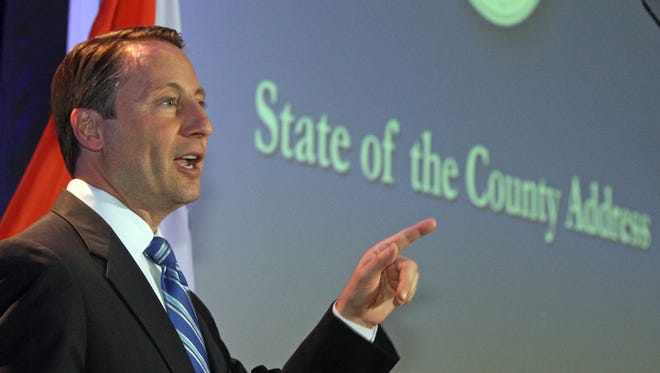 Westchester County Executive Rob Astorino, pictured at his State of the County address, said he's prepared to make tough decisions to keep spending down in 2016.