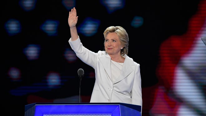 Democratic Presidential Nominee Hillary Clinton acknowledges the crowd before speaking.
