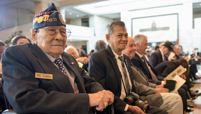 Celestino Almeda, a veteran of the Philippine Commonwealth Army, awaits the beginning of the Congressional Gold Medal Ceremony to honor Filipino veterans. Speaker of the House Paul Ryan honored Filipino World War II veterans during the Congressional Gold Medal Ceremony at the U.S. Capitol on Oct. 25, 2017 in Washington.
