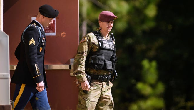 Sgt. Bowe Bergdahl leaves the Fort Bragg courthouse after a sentencing hearing on Oct. 26, 2017, on Fort Bragg, N.C.