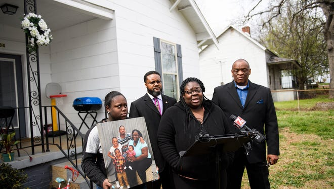 Tiffany Copeland speaks to members of the press during a press conference about the shooting death of her husband Jermaine Massey on Wednesday, March 21, 2018.