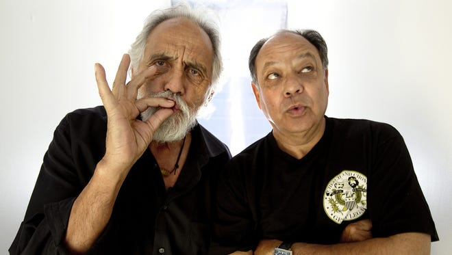 Cheech Marin and Tommy Chong, aka Cheech and Chong, pose for a portrait at the offices of the Weinstein Company in Los Angeles.