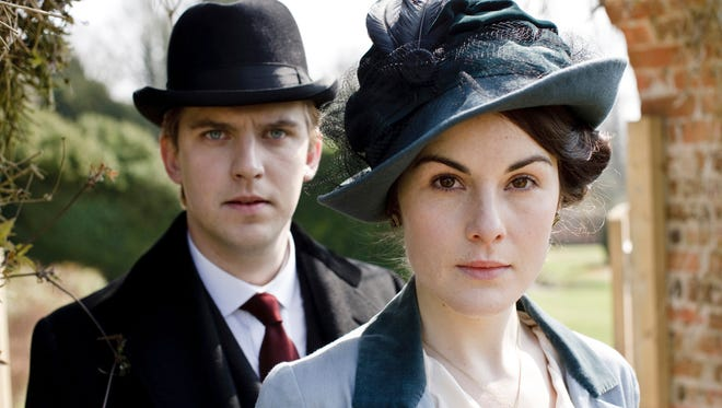 """Dan Stevens, left, as Matthew Crawley, and Michelle Dockery as Lady Mary Crawley, in the television series, """"Downton Abbey."""""""