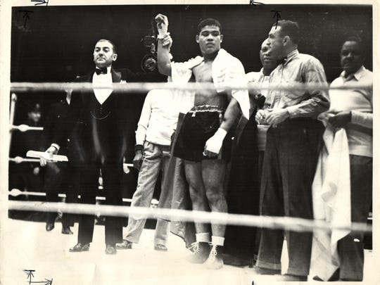 Joe Louis wins his fight with Max Baer at Yankee Stadium on Sept. 24, 1935.