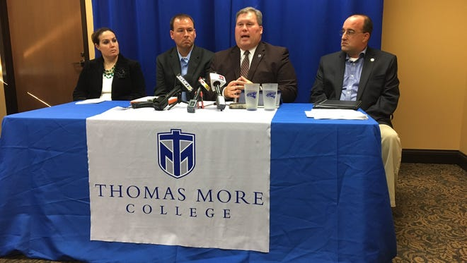 Thomas More president David Armstrong speaks at the press conference Tuesday. From left are Faculty Athletic Representative Dr. Jodie Mader, head women's basketball coach Jeff Hans, Armstrong, and Director of Athletic Communications & Compliance Cory Blackson.