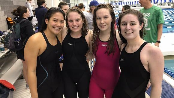 The Asheville School girls 400-yard freestyle relay team.