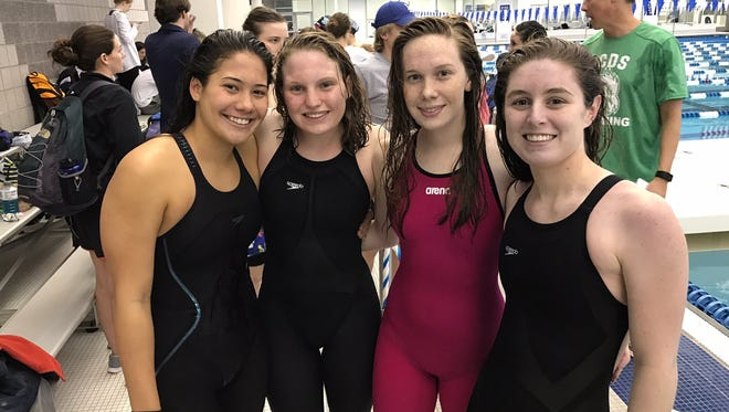The Asheville School girls 400-yard freestyle relay team.