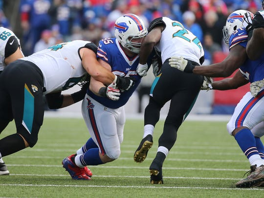 Bills defensive lineman Kyle Williams makes the tackle on Jaguars running back T.J. Yeldon.