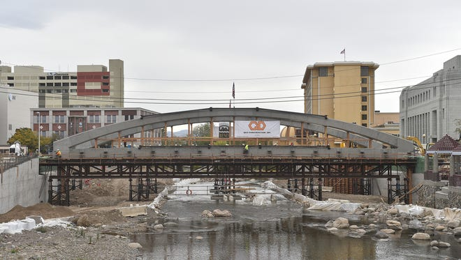 The Virginia Bridge now lays over the Truckee River on Oct. 15, 2015.