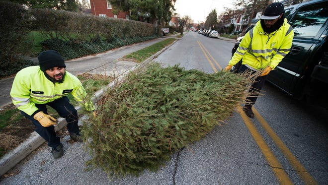 Josh Santiago, left, and George Jennings load a Christmas tree into a pickup truck in York on Monday.