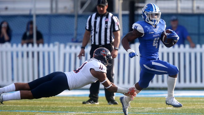 MTSU running back I'Tavius Mathers (4) is one of the last remaining top weapons on the Blue Raider offense. He will be charged with plenty of responsibility with quarterback Brent Stockstill out for the year.