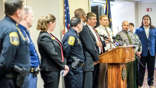 CMU Police Chief Bill Yeagley speaks at the news conference concerning the shooting that prompted a lock-down of campus on Friday. Police from several jurisdictions are present at the briefing Saturday, March 3, 2018.