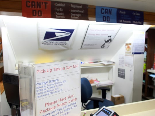 Iowa Book's postal substation is seen on Tuesday, April