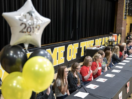 For the second year in a row, seniors who are academic stars at Paint Valley High School sign  their letters of intent to their respective schools Tuesday afternoon in Bainbridge, Ohio.