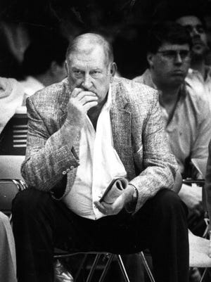 Don Haskins ponders at a time when he was ninth on the all-time coaching list for victories.