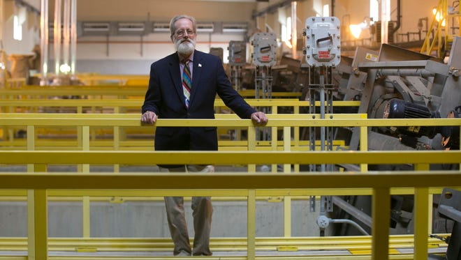 Jim Nash, Oakland County Water Resources Commissioner is photographed at the George W. Kuhn Retention Treatment Basin in Madison Heights, Wednesday, August 20, 2017.  The $140 million facility holds and partially treats stormwater-sewage water mix and prevents it from backing up into people's basements.