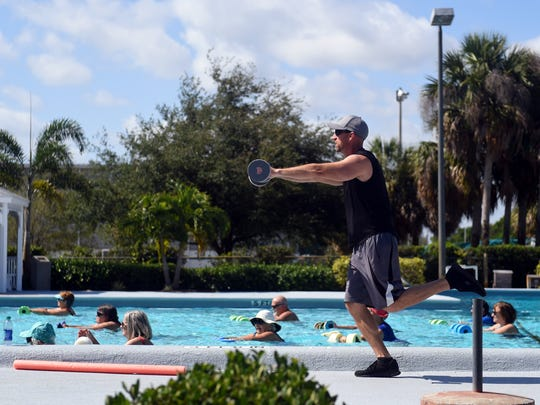 Residents are opposing the planned closing of Leisure Square pool in January. In this May 2, 2018 photo, John Sammartano leads a water aerobics class of about 50 people at the pool.