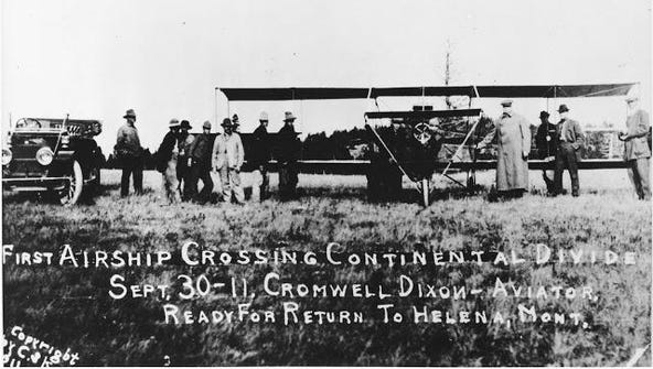 Cromwell Dixon at the controls of his plane, the Hummingbird,