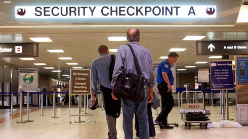 Security checkpoint Sky Harbor International Airport in Phoenix.