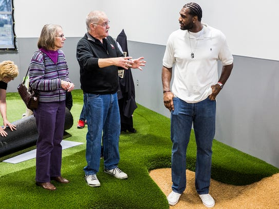 Former NBA player Greg Oden was at the opening of Ball State's Earl Yestingsmeier Golf Center.
