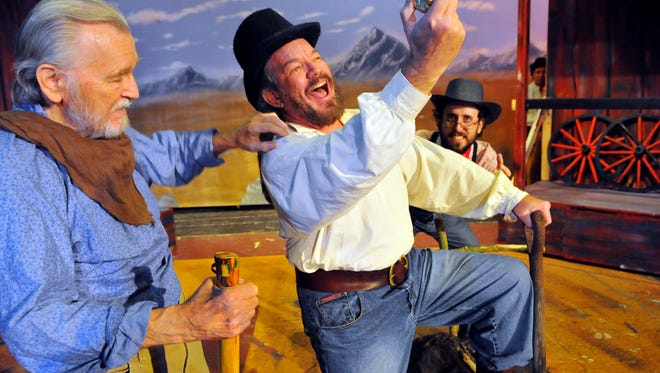 Tom Kramer of Rockledge as Sam , Scott Sutherland of Melbourne as Ben Rumson and Rich Reifsnyder of Port St John as Salem Trumbull in Paint Your Wagon a Golden Nugget of a Musical playing at the Cocoa Beach Playhouse April 17 to May 3 .