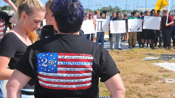 Rockledge High School government teacher Jaime Stephenson wore her shirt in support of the Second Amendment March 30. About 75 students walked out of the school and onto the athletic field to show their support of the Second Amendment.