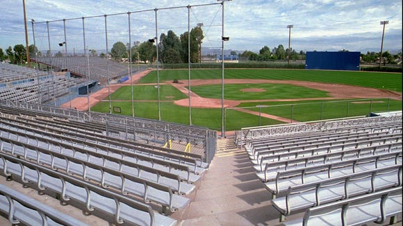The baseball field at Hohokam Park in Mesa, Ariz., which is the spring training home for the Chicago Cubs, is without people  or action on Wednesday Feb. 7, 1995.  Without a resolution to the baseball strike, and with pitchers and catchers due to reportnext week, fans wonder if and when spring training will begin. (AP Photo/Scott Troyanos)