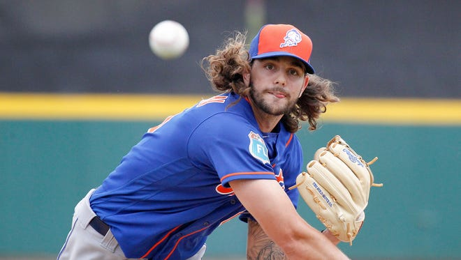 Mets pitching prospect Robert Gsellman throws during the third inning of a spring training game against the Detroit Tigers at Joker Marchant Stadium on March 14, 2016.