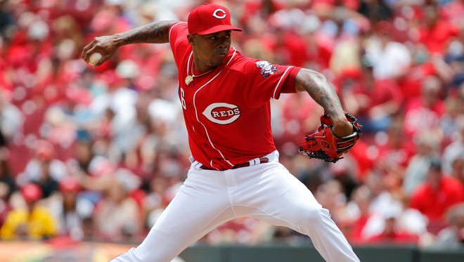 Cincinnati Reds relief pitcher Raisel Iglesias (26) delivers in the ninth inning against the St. Louis Cardinals June 8, 2017, at Great American Ball Park.