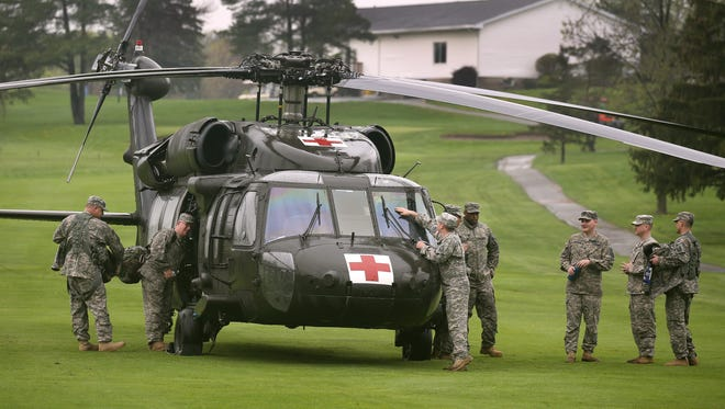 A Blackhawk helicopter made an emergency landing on the 9th hole of Chili Country Club  after getting a crack in the windshield.  No one was injured in the incident.