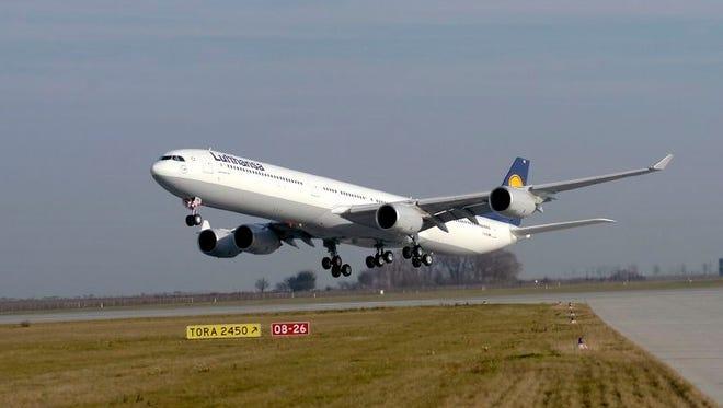 An undated file photo a Lufthansa Airbus A340.
