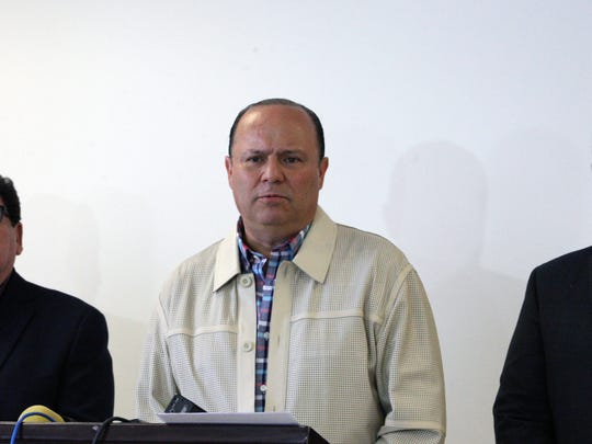 "Chihuahua Gov. César Duarte Jáquez, center, discusses the transfer of Joaquin ""El Chapo"" Guzman to Cefereso No. 9 federal prison outside Juárez during a news conference in May 2016."