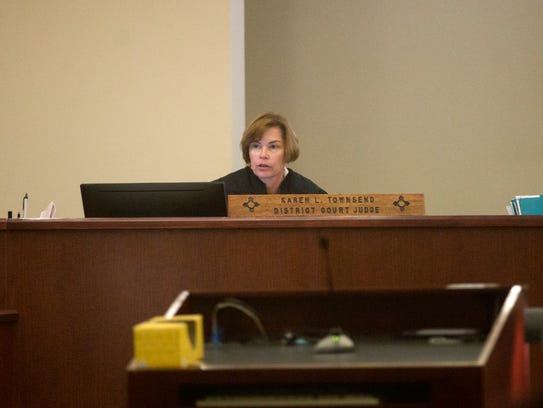 District Court Judge Karen Townsend hands down her sentence for defendant Rick Stallings on Wednesday in Aztec District Court.
