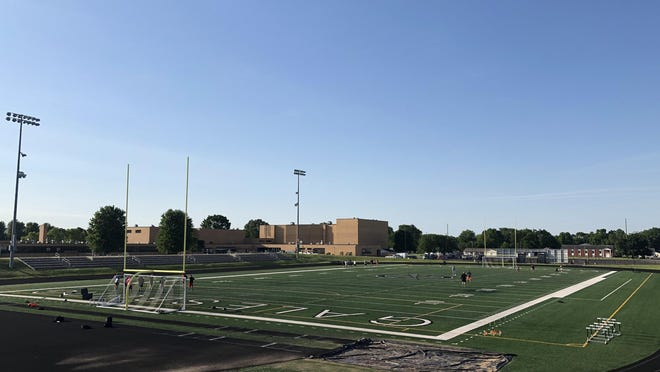 Members of the Galesburg High School football team workout Monday morning at Van Dyke Field. The Silver Streaks did so under the IHSA's COVID-19 guidelines.
