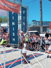 Chip Gaines crosses the finish line of the Silo District