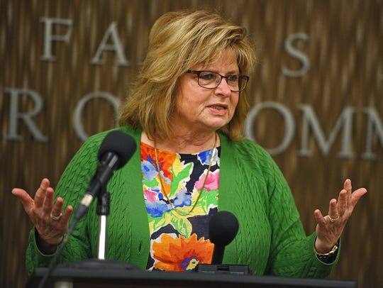 Teri Schmidt, the executive director of the Sioux Falls Convention and Visitors Bureau, speaks at a press conference in April 2017.