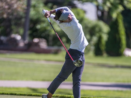 Kisha Sinha from New Delhi, India hits her drive on no. 2 on the second day of the Symetra Tour held at Battle Creek Country Club.