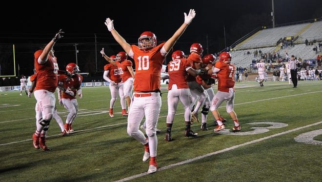 Brentwood Academy's Gavin Schoenwald (10) celebrates as after the Eagles' state championship win over MBA.