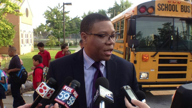 At School 14, Indianapolis Public Schools Superintendent Lewis Ferebee talks with the media Aug. 4, 2014, about the first day back to school for a new session.