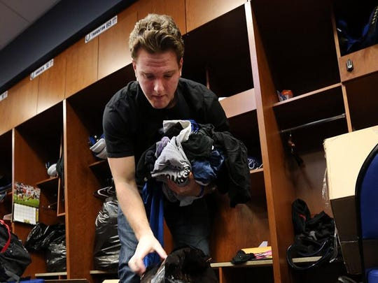 Colts punter Pat McAfee packs up his locker Mondat at the Colts 56th Street complex. McAfee is an unrestricted free agent this offseason.