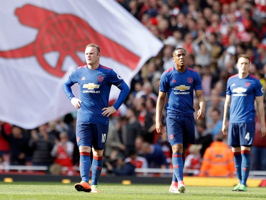 Manchester United's players react after conceding a goal during the English Premier League soccer match between Arsenal and Manchester United at the Emirates stadium in London, Sunday, May 7, 2017. (AP Photo/Matt Dunham)
