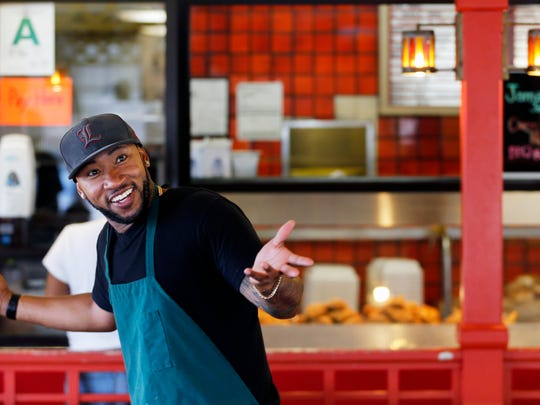 Shon 'China' Lacy still works at the Chicken King while competing in America's Got Talent with his group Linkin Bridge.