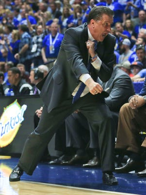 """Kentucky head coach John Calipari was fired up as he lit up Isaiah Briscoe from the sidelines. """"Cal does what he can to try to light a flame when you're kind of dozing off,"""" said Marcus Lee."""