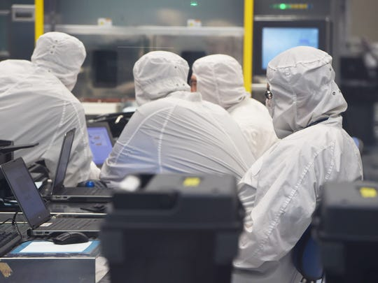 """Engineers monitor chemicals used to produce computer chips or """"wafers"""" at the GlobalFoundries East Fishkill site."""