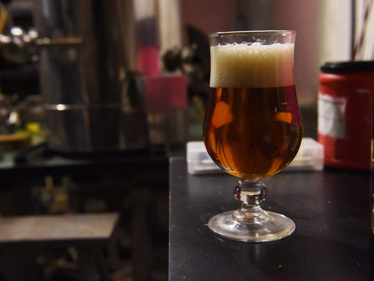 A glass of Manny Holl's own maibock beer. Holl has