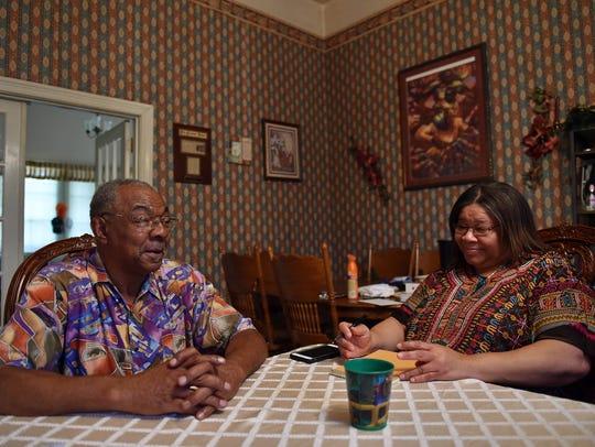 Former Tchula mayor Eddie Carthan sits beside his wife,