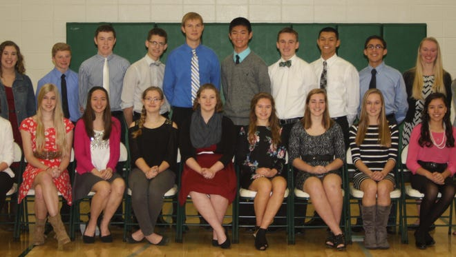 Sheboygan Lutheran High School recently inducted 20 students into its chapter of the National Honor Society during a Chapel service at the school. The students include Erin Muth, Erin Koenig, Emma Safly, Sarah Marver, Alisha Harvat, Lindsay Smith, Lisa Beine, Britta Solle, Marissa Mayer, Melody Huebschman, Zach Ten Pas, Isaiah Richardson, Garret Feile, Jacob Glewen, T.J. Johnson, Mathias Otten, Eli Neuaone, Tristan Schneider, Hannah TenPas and Tessa Bidinger. Juniors and seniors are selected by a faculty committee based on cumulative grade point average and demonstration of Christian character, service and potential leadership qualities. The four pillars of the National Honor Society are scholarship, leadership, character and service.