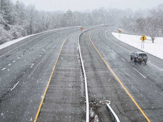 9:30 a.m. Route 304 in Pearl River has light snow with light traffic on Wednesday, March 7, 2018.